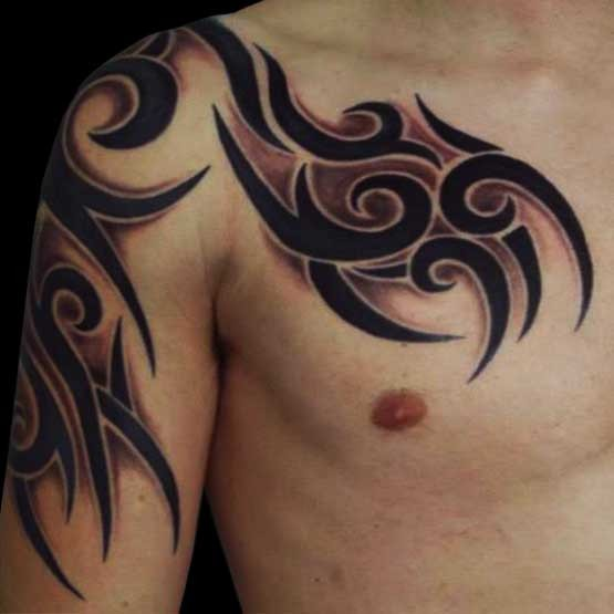 Cool Tribal Tattoos On Chest And Biceps