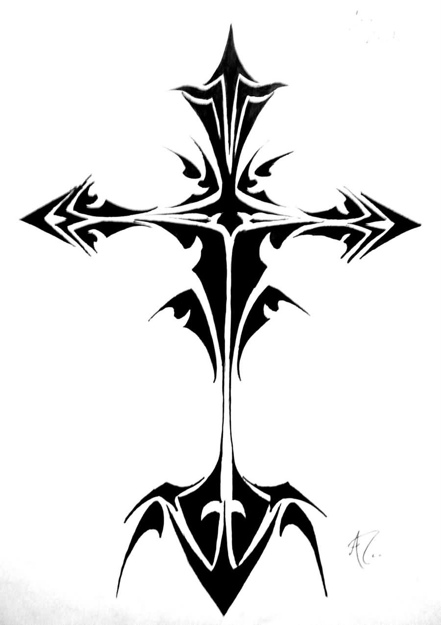 Cross Tribal Tattoo Design
