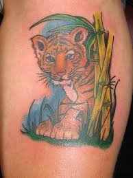 Cute Baby Tiger Forest Tattoo