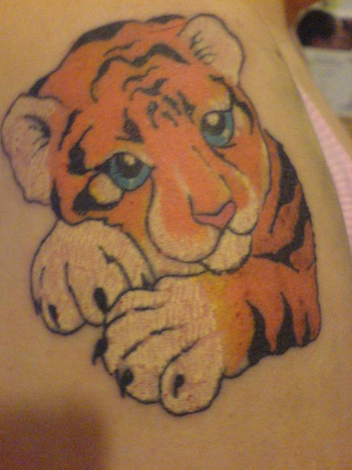 Cute Baby Tiger With Blue Eyes Tattoos