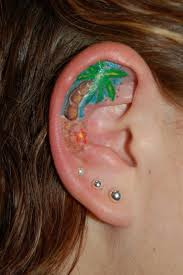 Cute Palm Tree Tattoo In Ear