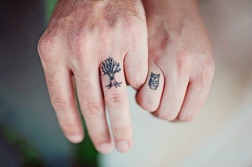 Cute Tree And Owl Tattoos On Fingers