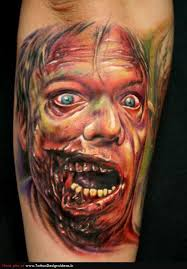 Dangerous Vampire Face Tattoo On Arm
