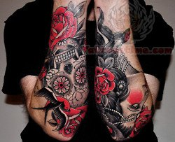 Dark Ink Traditional Tattoos On Arms