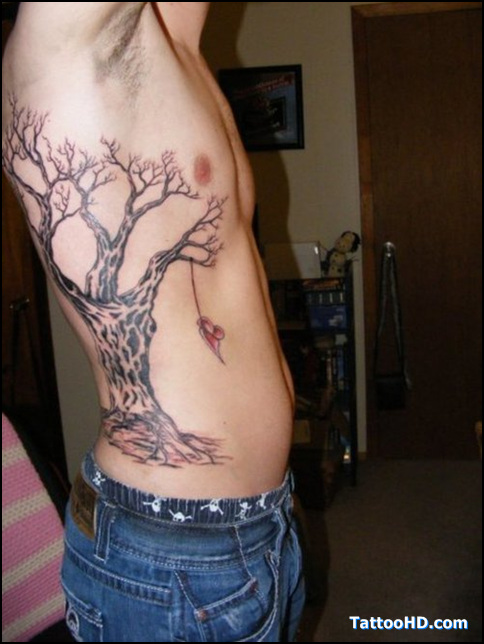 Dead Tree Tattoo On Ribs For Men