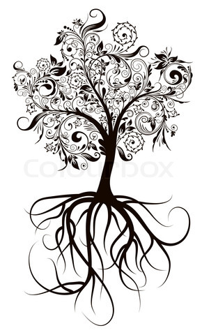 Decorative Tree Roots Tattoo Design