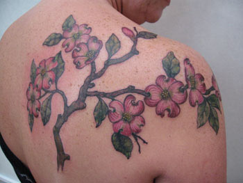 Dogwood Tree Tattoo On Right Back Shoulder