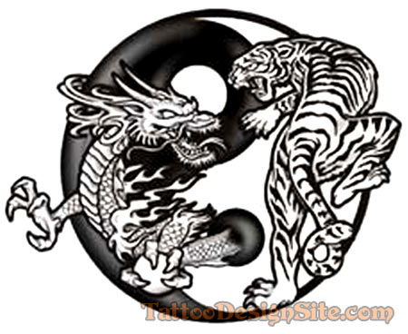 Dragon Tiger Yin Yang Tattoo Design