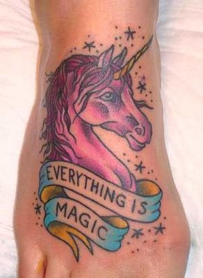 Everything Is Magic Unicorn Tattoo On Foot
