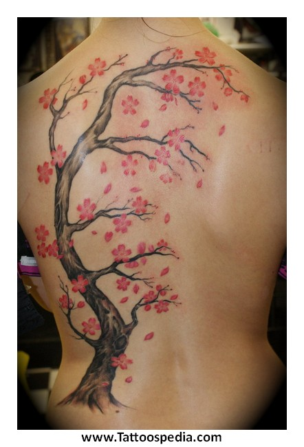 Fabulous Cherry Blossom Tree Tattoo For Back