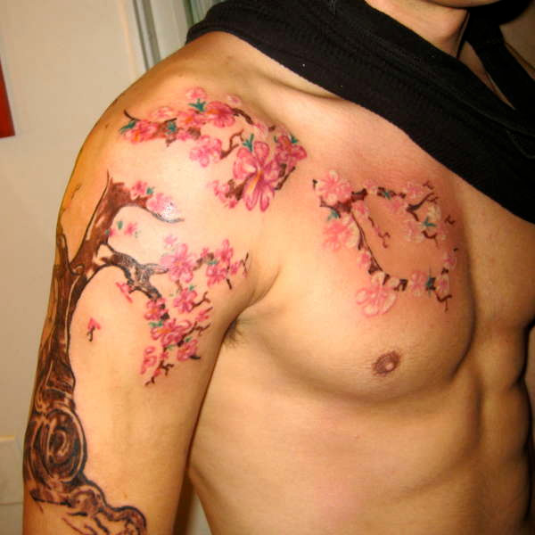 Fabulous Cherry Blossom Tree Tattoo For Men