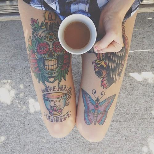 Fabulous Traditional Tattoos On Thigh