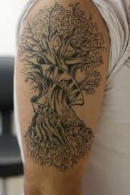 Family Tree Tattoo With Names On Biceps