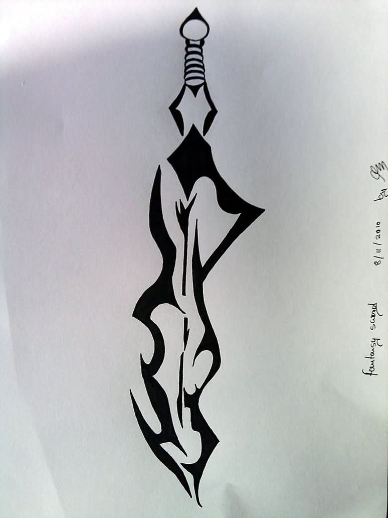 Fantasy Tribal Sword Tattoo Design