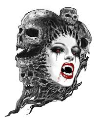 Female Vampire And Skulls Tattoo Designs