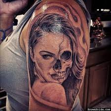 Female Vampire Sugar Skull Sleeve Tattoos