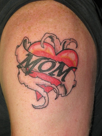 Fine Mom Heart Tattoo For Biceps