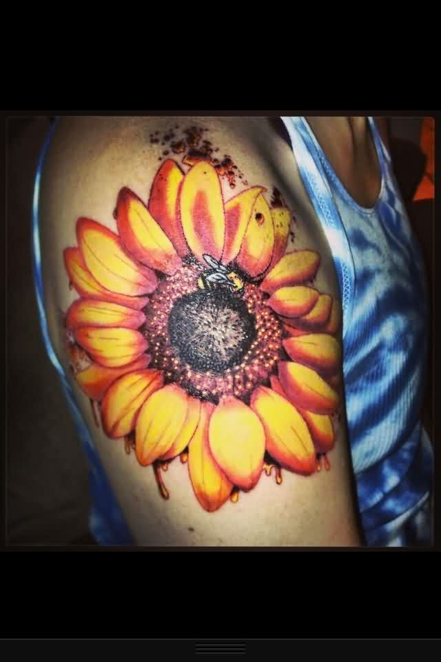 Fine Sunflower Tattoo For Biceps