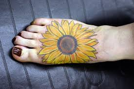 Fine Yellow Ink Sunflower Tattoo For Foot