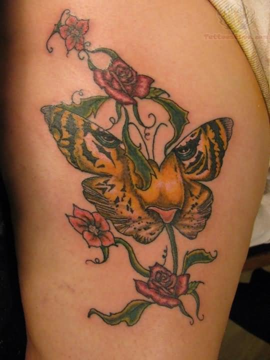 Flowers And Butterfly Tiger Face Tattoos