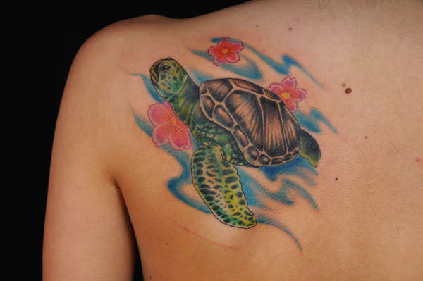 Flowers And Sea Turtle Back Shoulder Tattoos