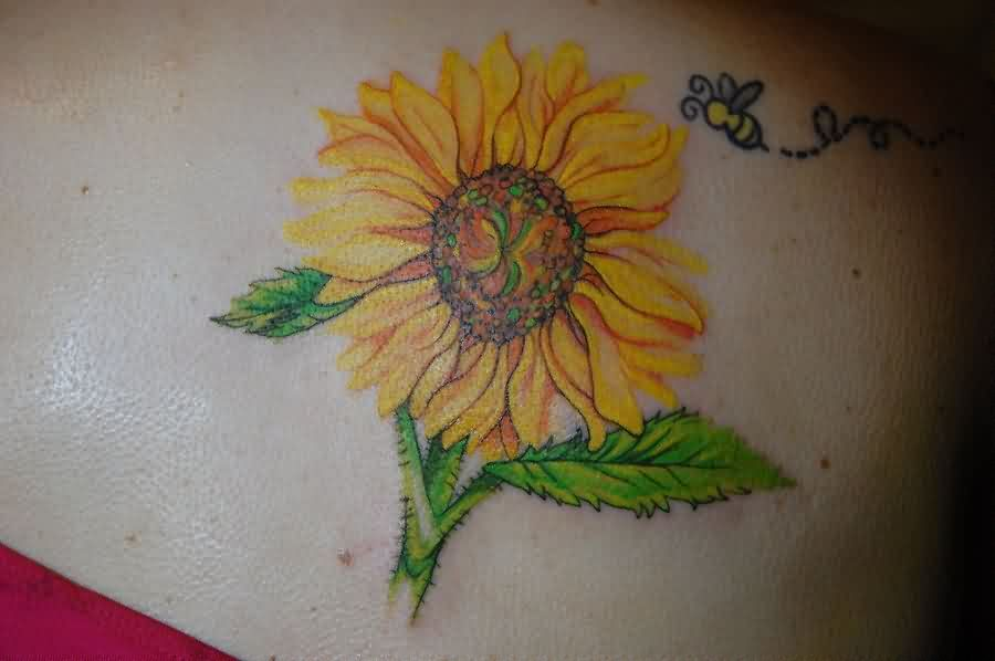 Flying Bee And Yellow Sunflower Tattoos