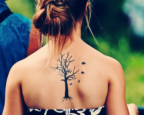 Flying Birds Tree Tattoos On Upper Back