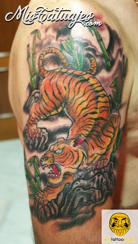 Forest Tiger Half Sleeve Tattoos
