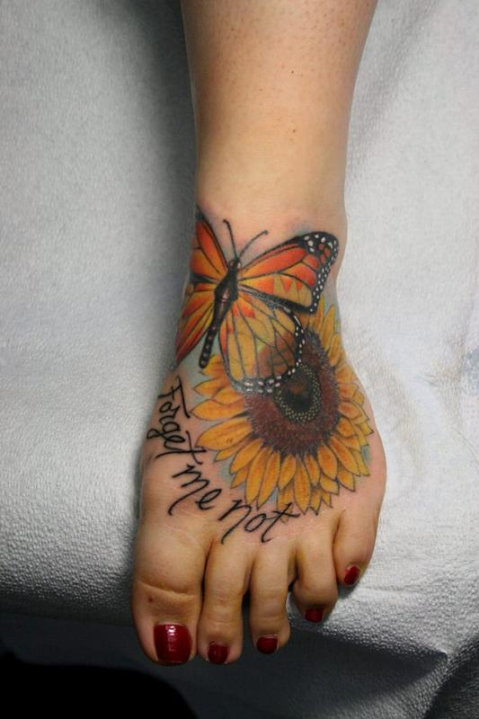 Forget Me Not Sunflower And Butterfly Tattoos On Foot