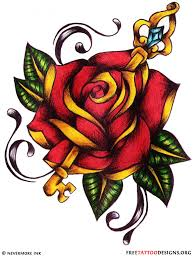 Free Traditional Rose Dagger Tattoo Design