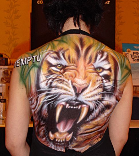 Angry Tiger Face Tattoo Full Back Angry Tiger Face
