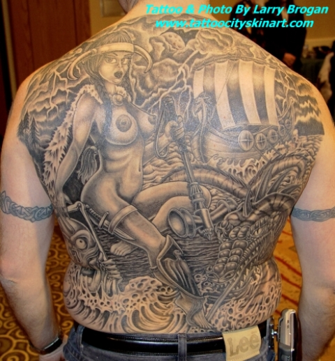 Full Back Viking Babe World Tattoo For Men