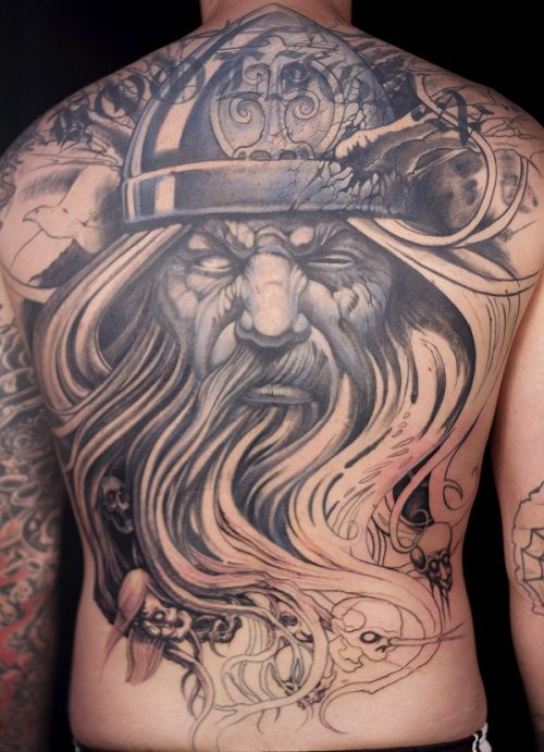 Full Back Viking Warrior Face Tattoo For Men