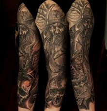 Full Sleeve Old Viking And Skulls Tattoos