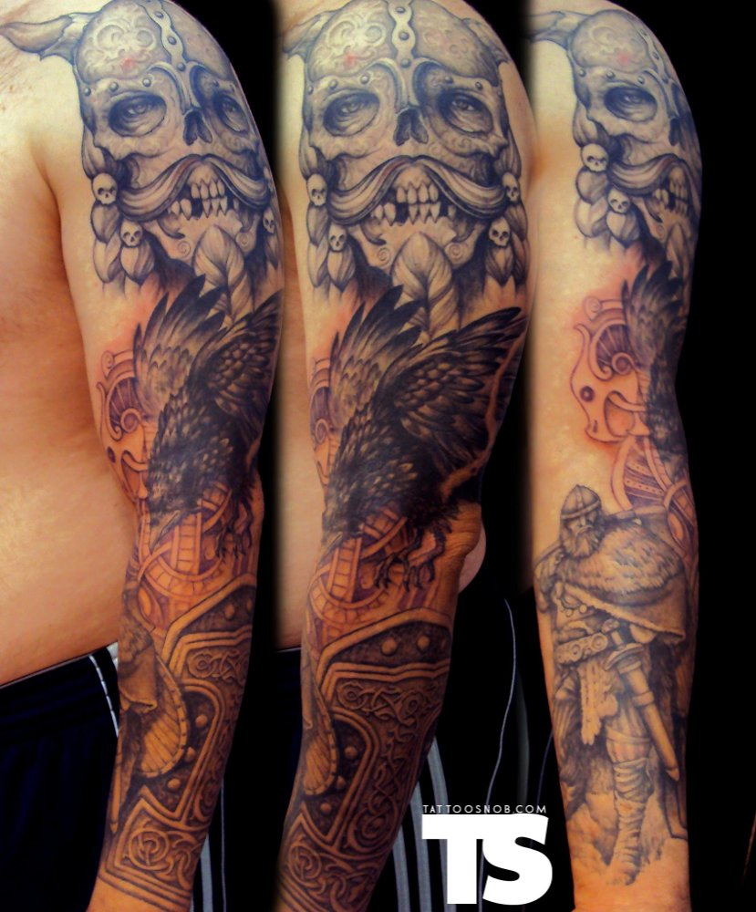 Full Sleeve Skull Bird And Viking Warrior Tattoos