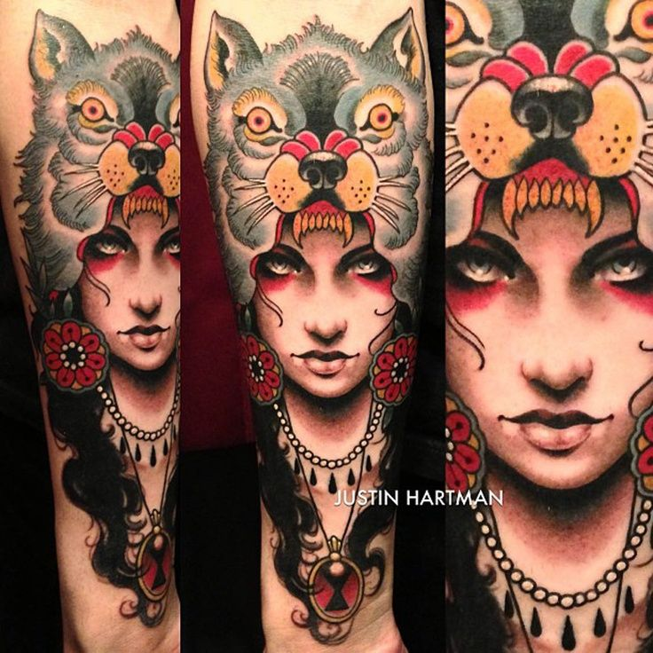 Full Sleeve Traditional Wolf Lady Head Tattoos
