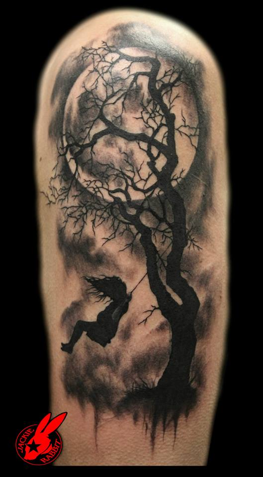 Girl Swinging On Tree Tattoo Design