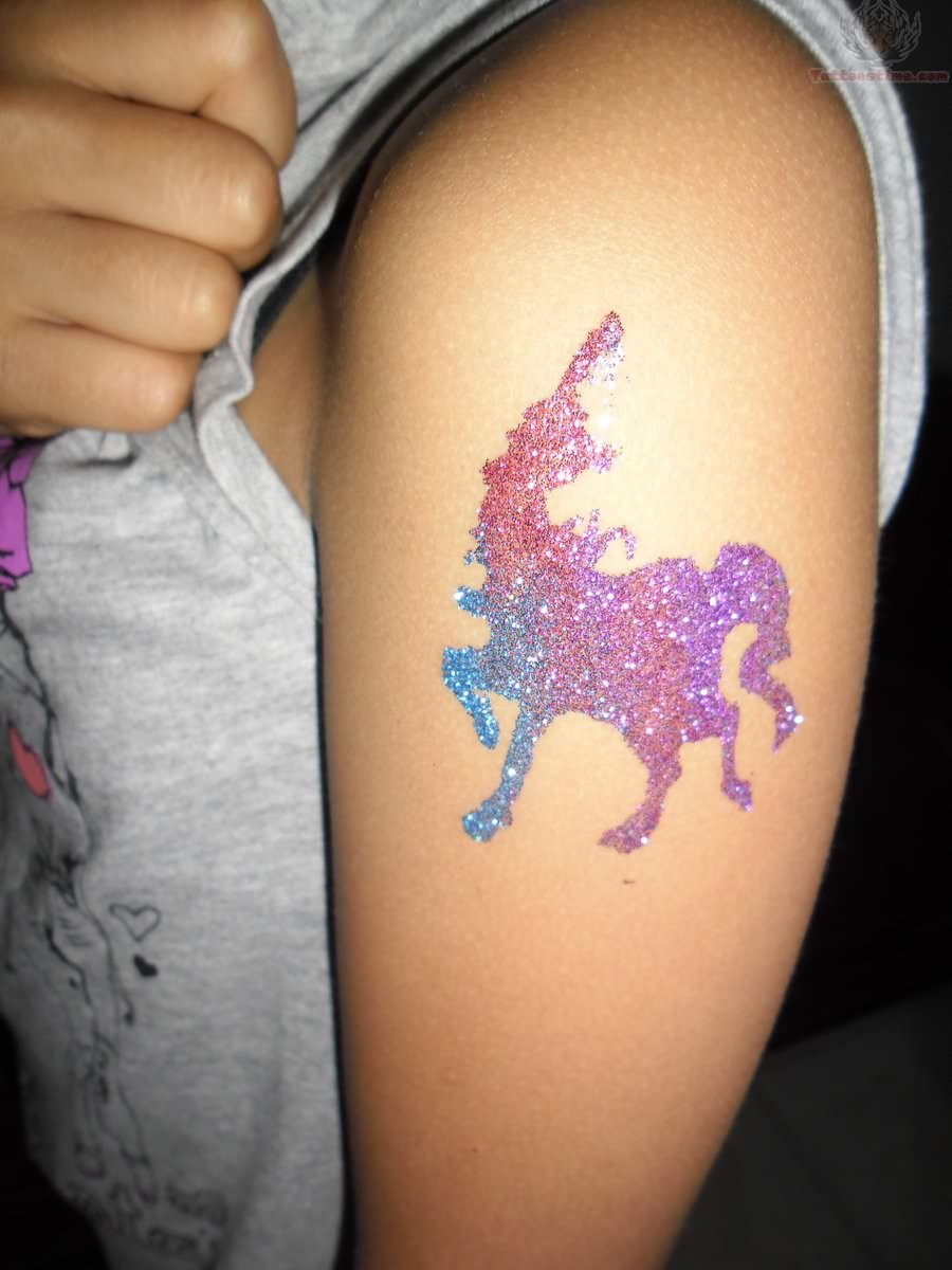 Glitter Unicorn Tattoo On Biceps