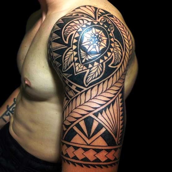 Glowing Half Sleeve Maori Tribal Tattoo