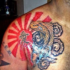 Glowing Japanese Rising Sun And Koi Fish Tattoos