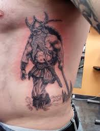Great Viking Warrior Tattoo On Ribs