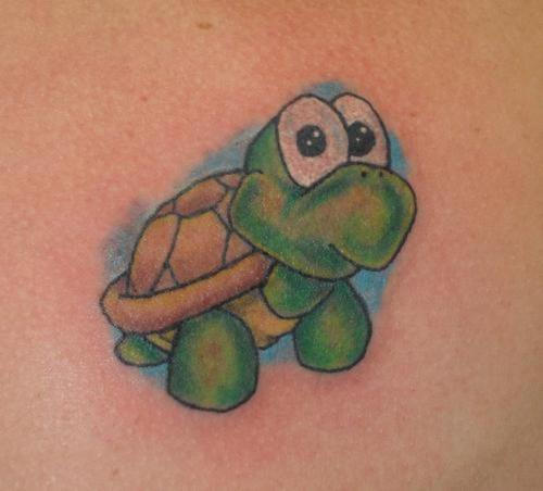 Green Cartoon Turtle Tattoo