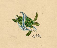 Green Turtle Tattoo Print