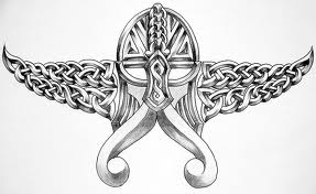 Grey Ink Celtic Viking Helmet Tattoo Design