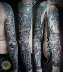 Grey Ink Full Sleeve Old Viking Warrior Tattoos