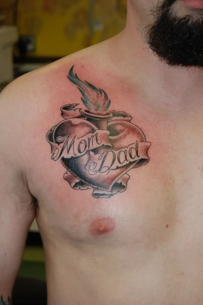 Grey Ink Mom Dad Sacred Heart Tattoo On Chest