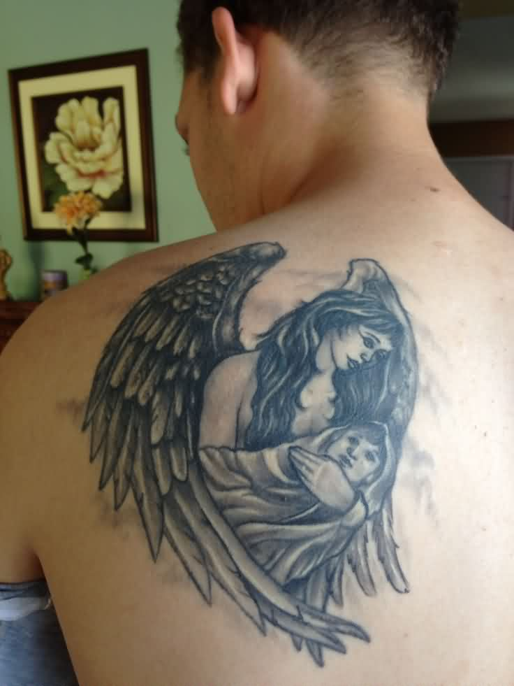 Grey Ink Mother Angel Tattoo On Back Shoulder