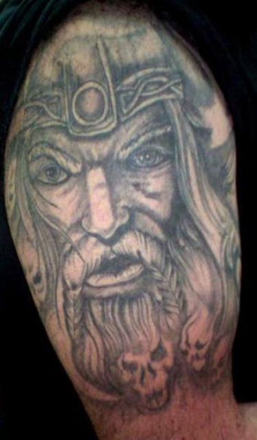 Grey Ink Realistic Viking Face Tattoo On Shoulder