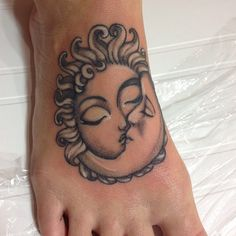 Grey Ink Sun Moon Kiss Tattoo On Foot