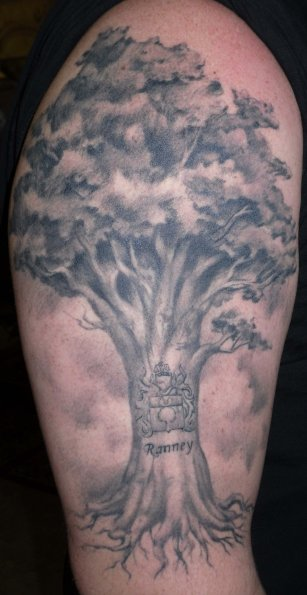 Grey Ink Tree Tattoo For Biceps